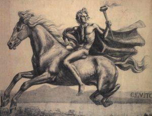 Alejandro Magno cabalgando su corcel Bucéfalo.