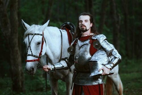 Caballero medieval y caballo