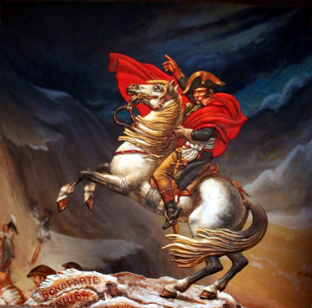 Napoleón Bonaparte y su caballo Marengo.