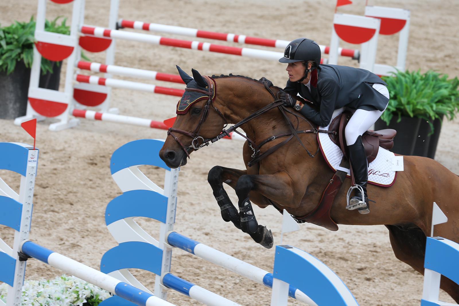 María Carolina Chapellín en una competencia de Salto de Obstáculos