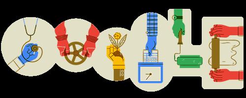 Dodle de google en homenaje al Día Internacional del Trabajador